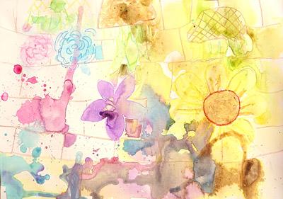 クレヨン+水絵の具3
