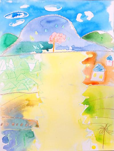 クレヨン+水絵の具4