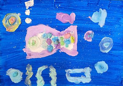紙粘土絵の具・子供絵画教室1