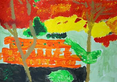 紅葉・子ども風景絵画1