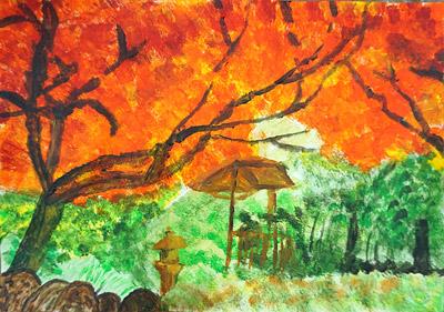 紅葉・子ども風景絵画2