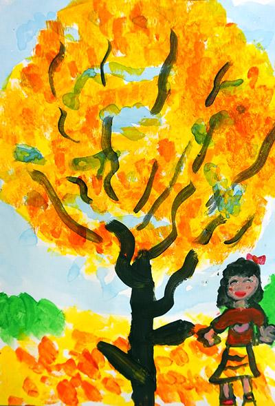 紅葉・子ども風景絵画11