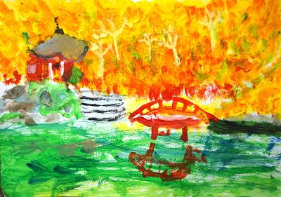 紅葉・子ども風景絵画12