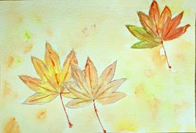 もみじの葉っぱ・子供絵画1