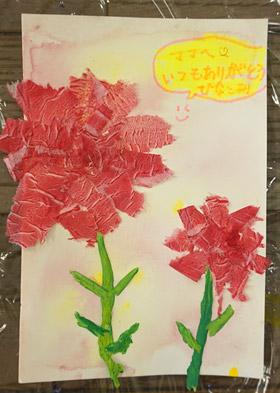 母の日・カーネーション・小学生半立体絵画10