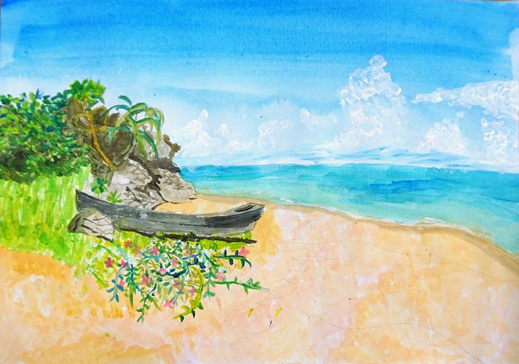 海 絵の具 描き方
