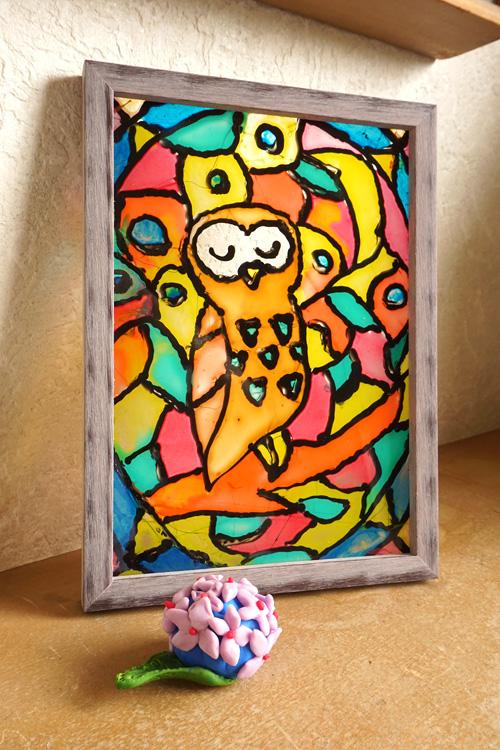 ステンドグラスと紫陽花のマグネット