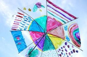 傘にお絵かき